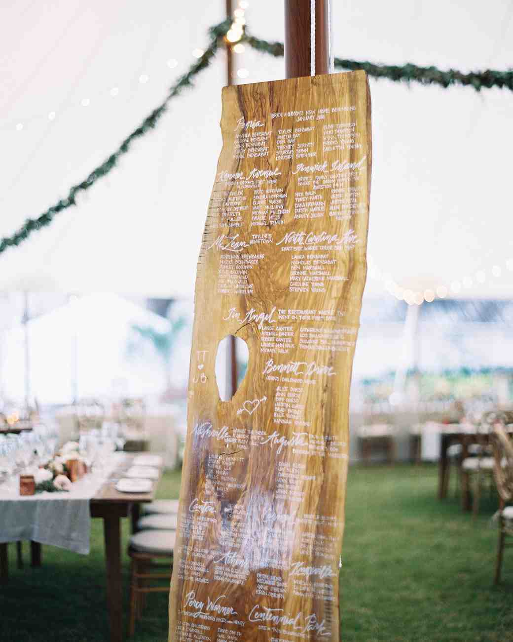 Calligraphed Wood Seating Chart