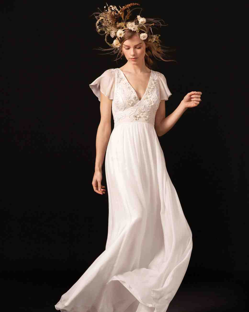 temperley flutter sleeve v-neck wedding dress spring 2018
