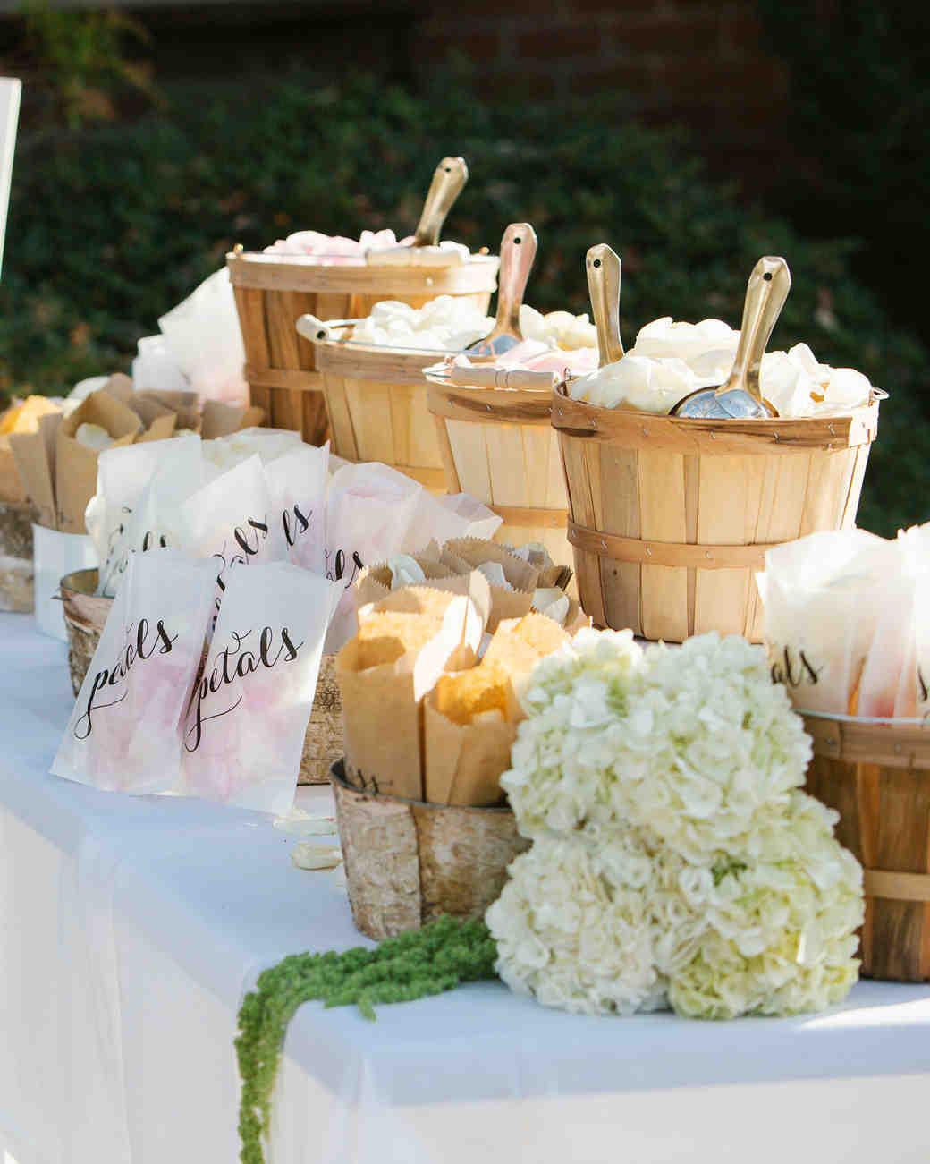 Wedding Flower Petal Bar, Baskets of Mixed Petals