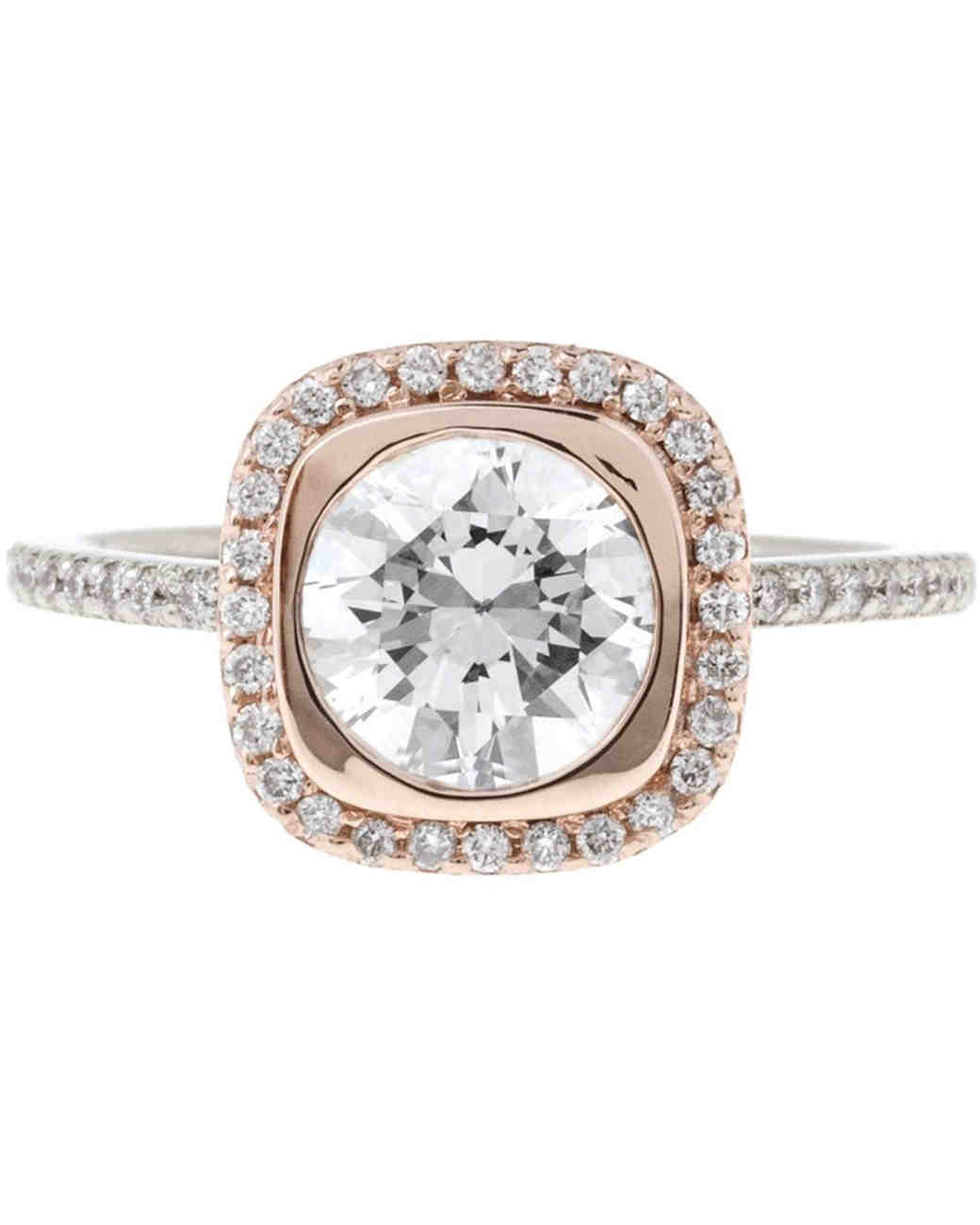 Bario Neal rose gold diamond halo engagement ring
