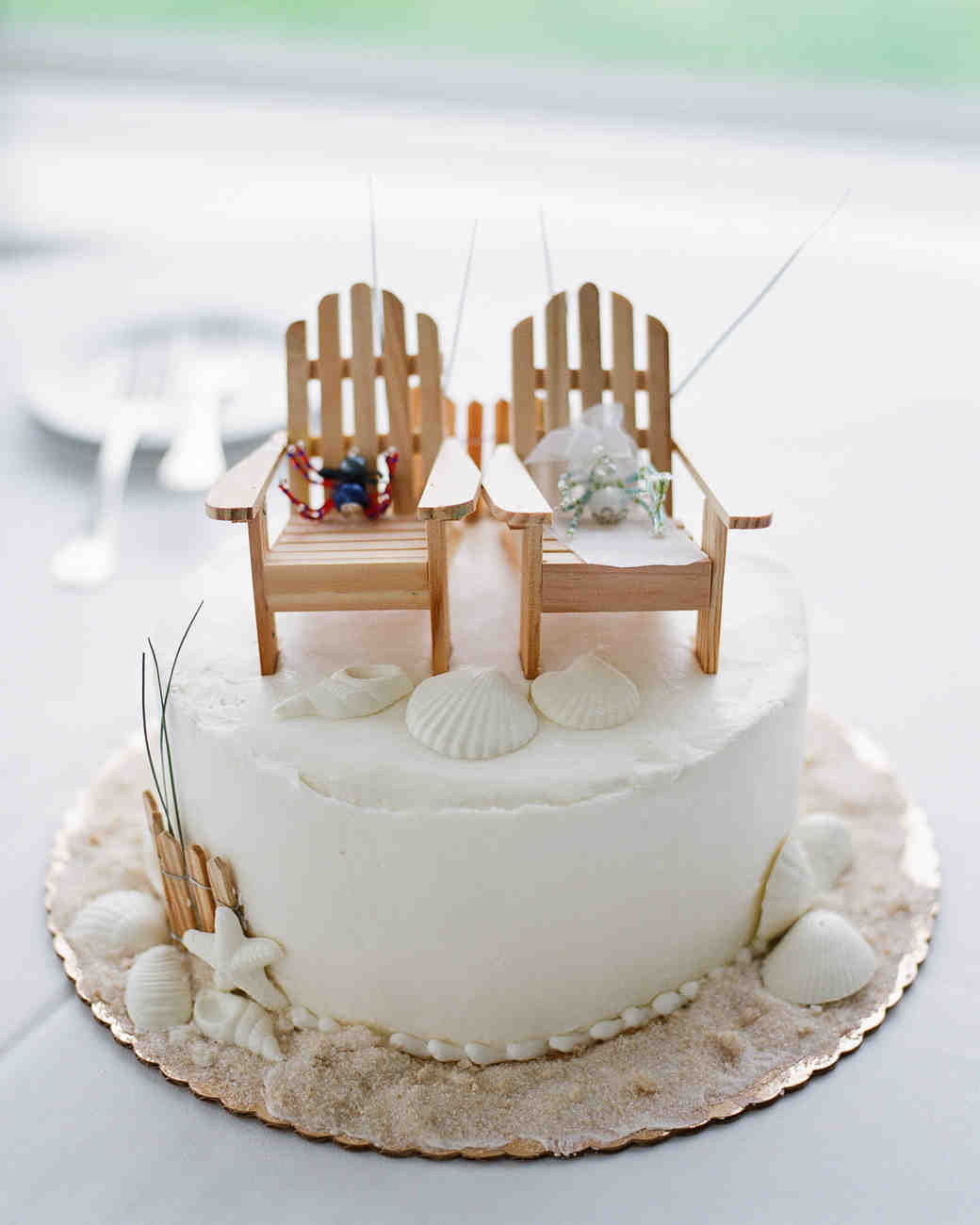 Wedding Cake Topped with Beach Chairs