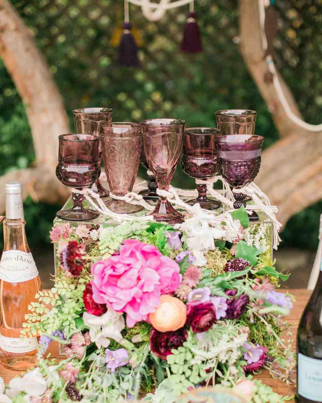 boho chic bachelorette party wine glasses
