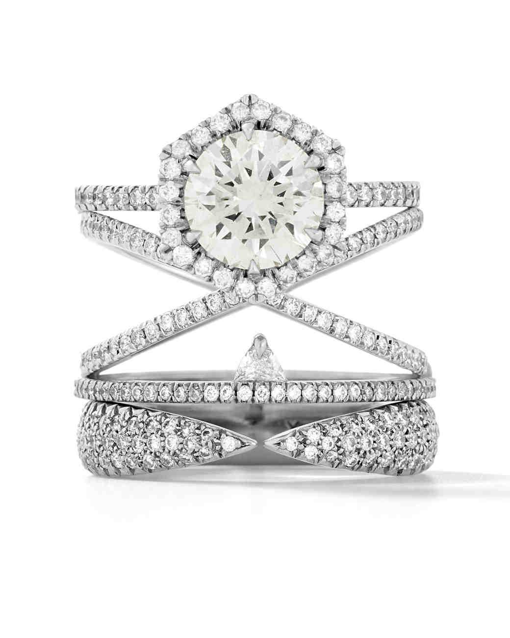 Eva Fehren Platinum Premier Stack with White Diamond Pavé