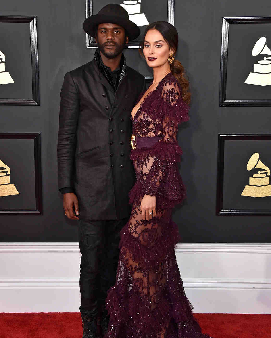 Gary Clark Jr. and Nicole Trunfio at 2017 Grammy Awards