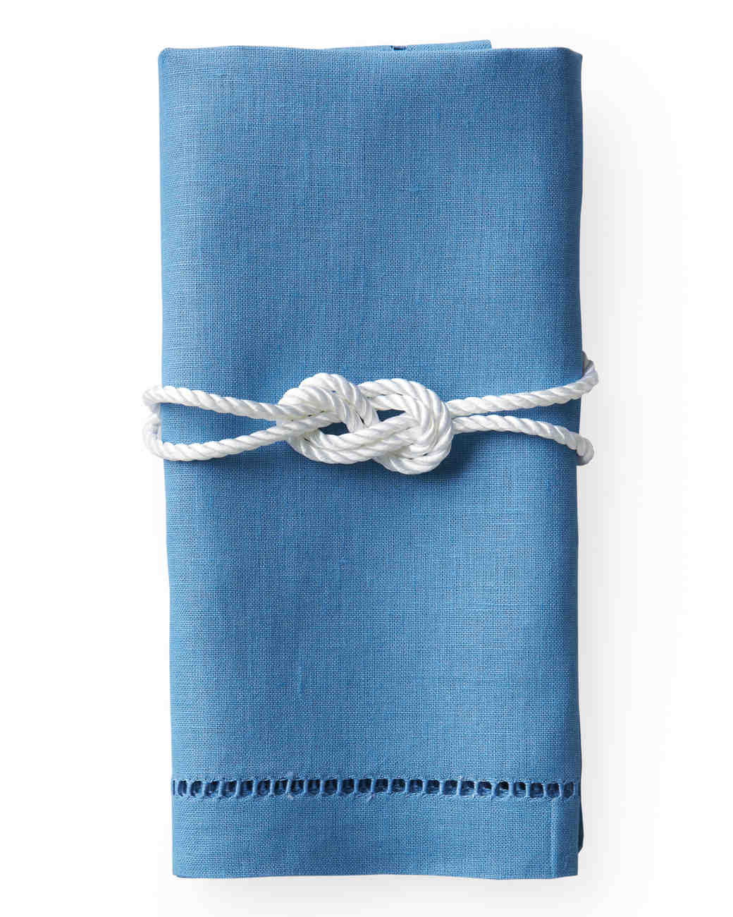 Blue Napkin with Rope Napkin Ring