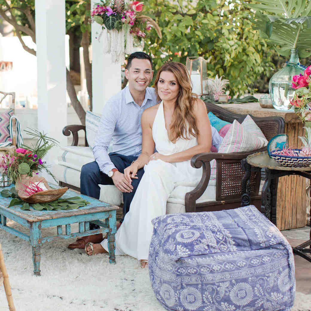 An Island-Inspired, Backyard Wedding Anniversary Dinner