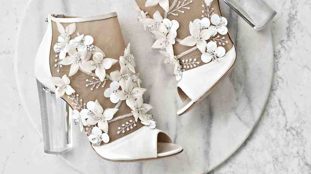 White Floral Booties