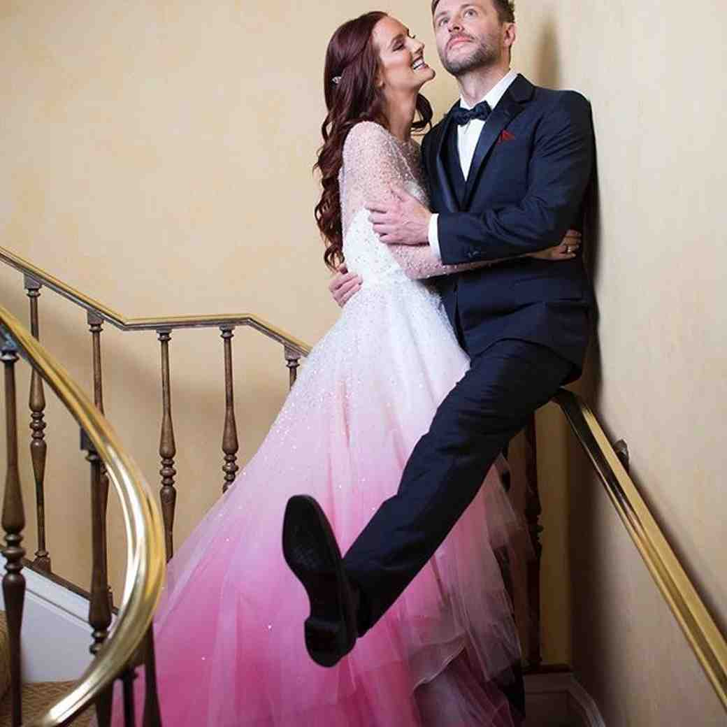 Lydia Hearst and Chris Hardwick on their wedding day