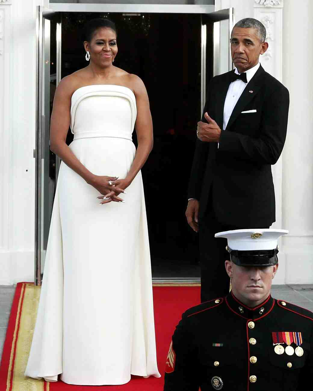 Michelle Obama in a White Brandon Maxwell Gown