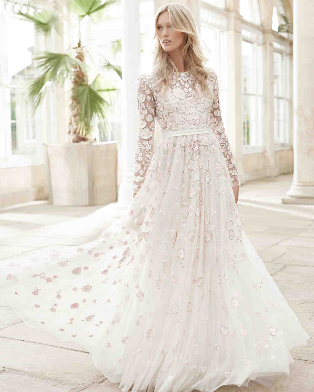 needle and thread wedding dress spring2017 floral sleeves