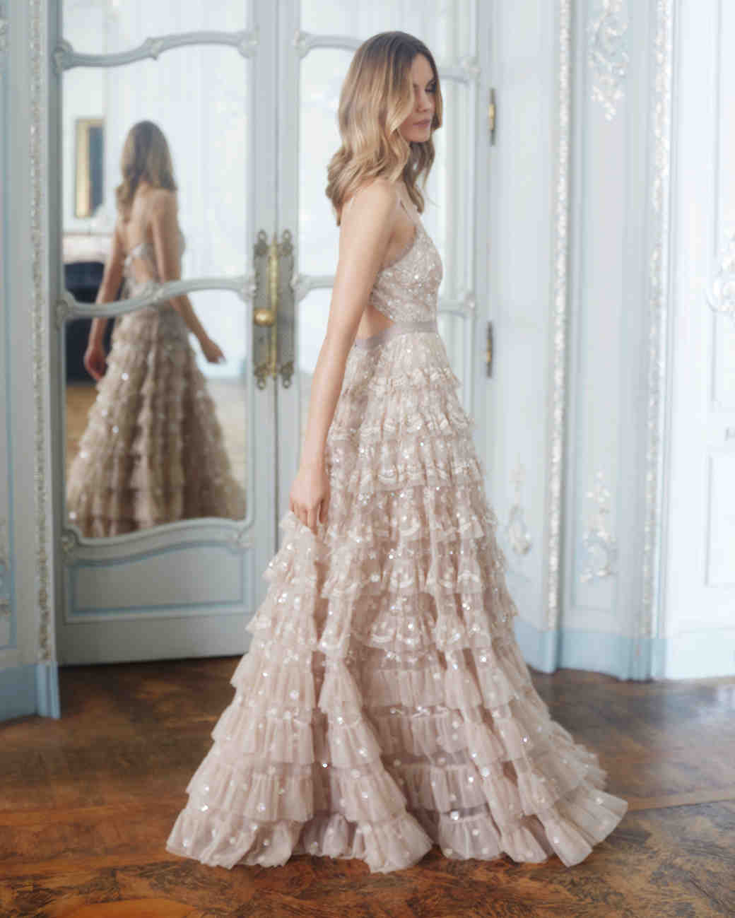 needle and thread wedding dresses fall 2017 champagne color sparkle ruffles