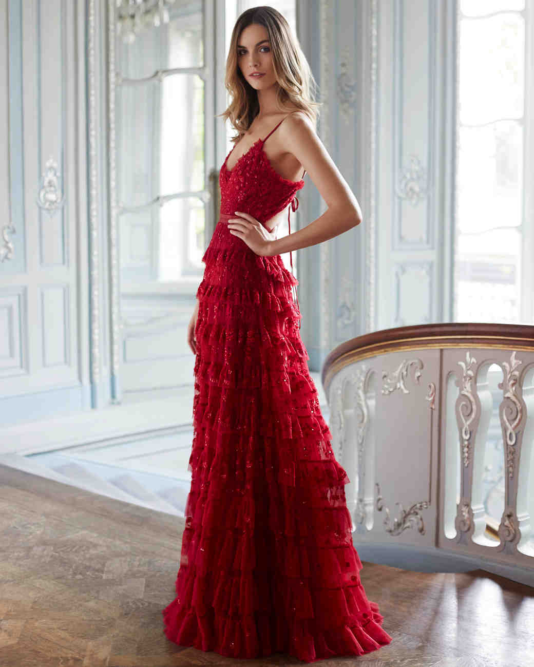 needle and thread wedding dresses fall 2017 red color ruffles