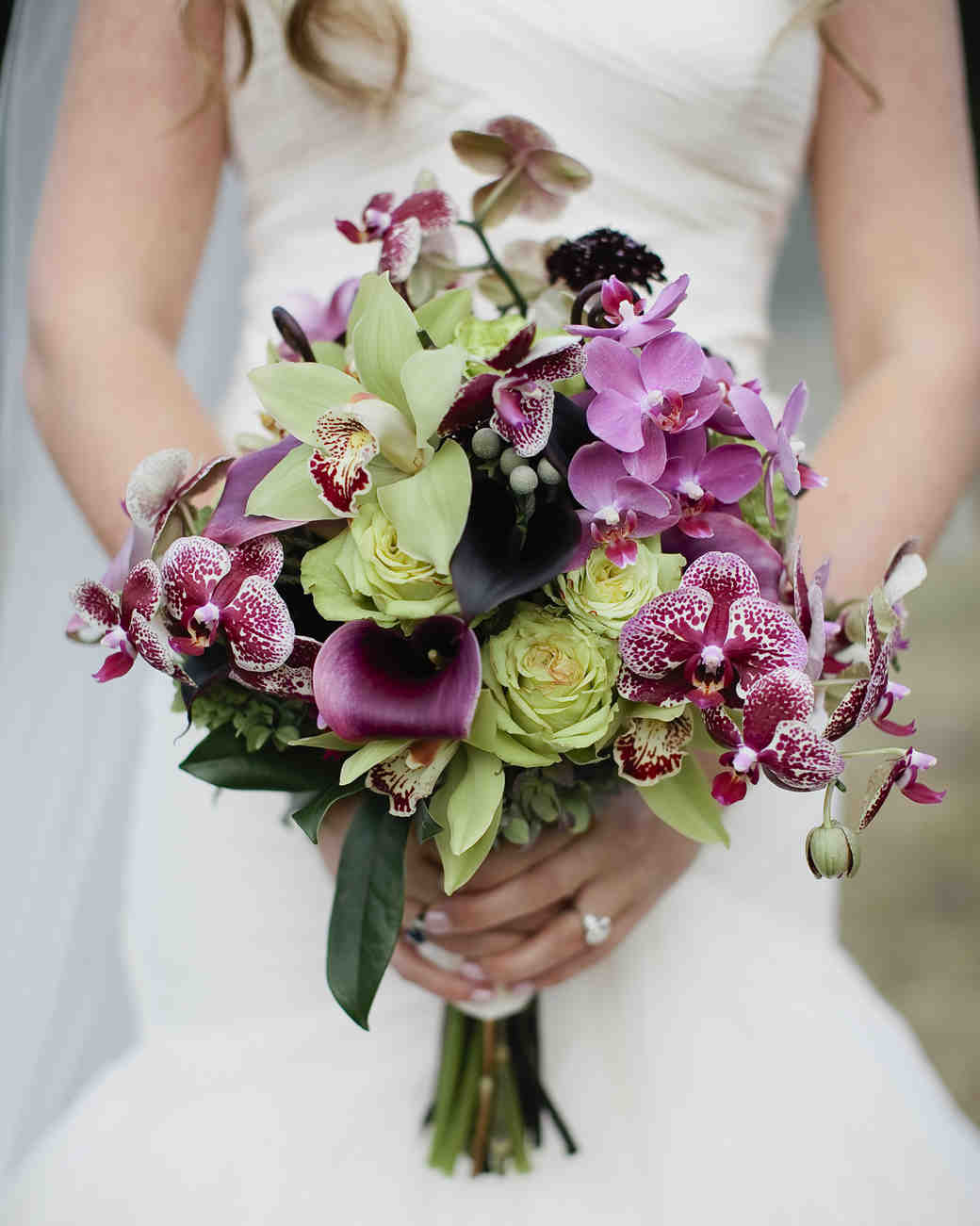 Purple and green orchid wedding bouquet