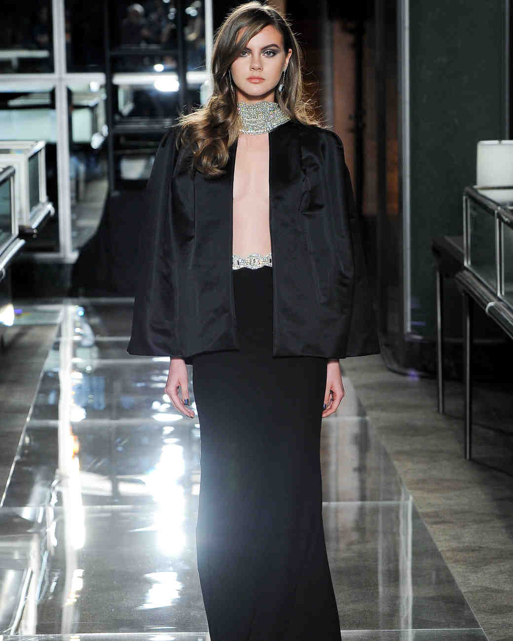reem acra spring 2018 black wedding dress with satin jacket