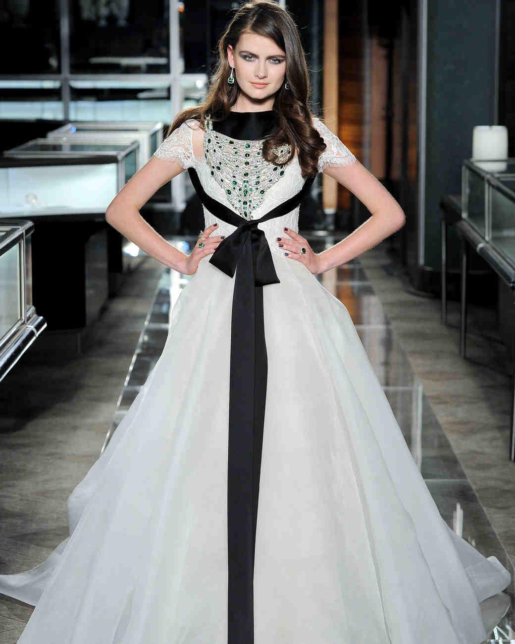 reem acra spring 2018 wedding dress with black bow