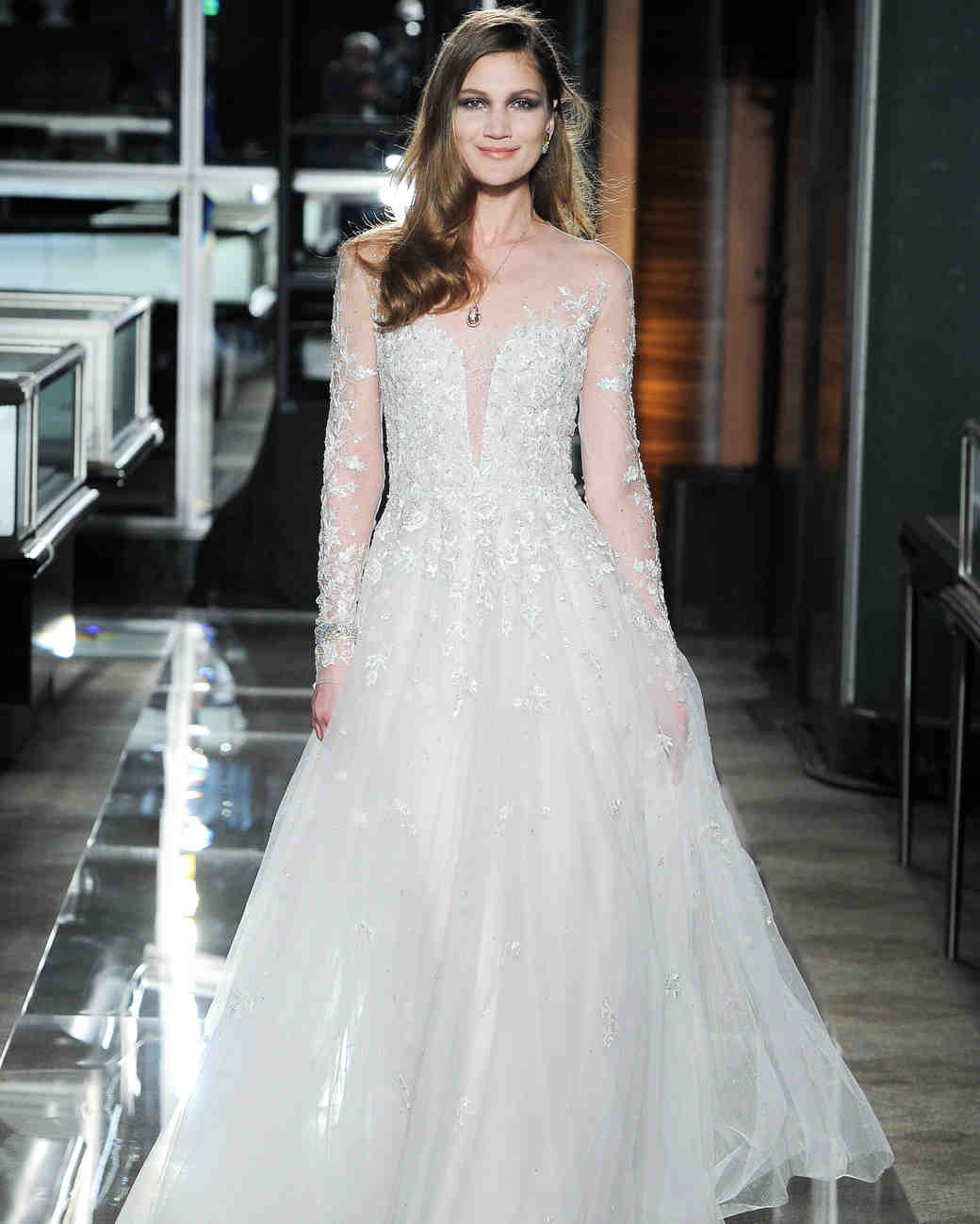 reem acra spring 2018 wedding dress collection lace long sleeve