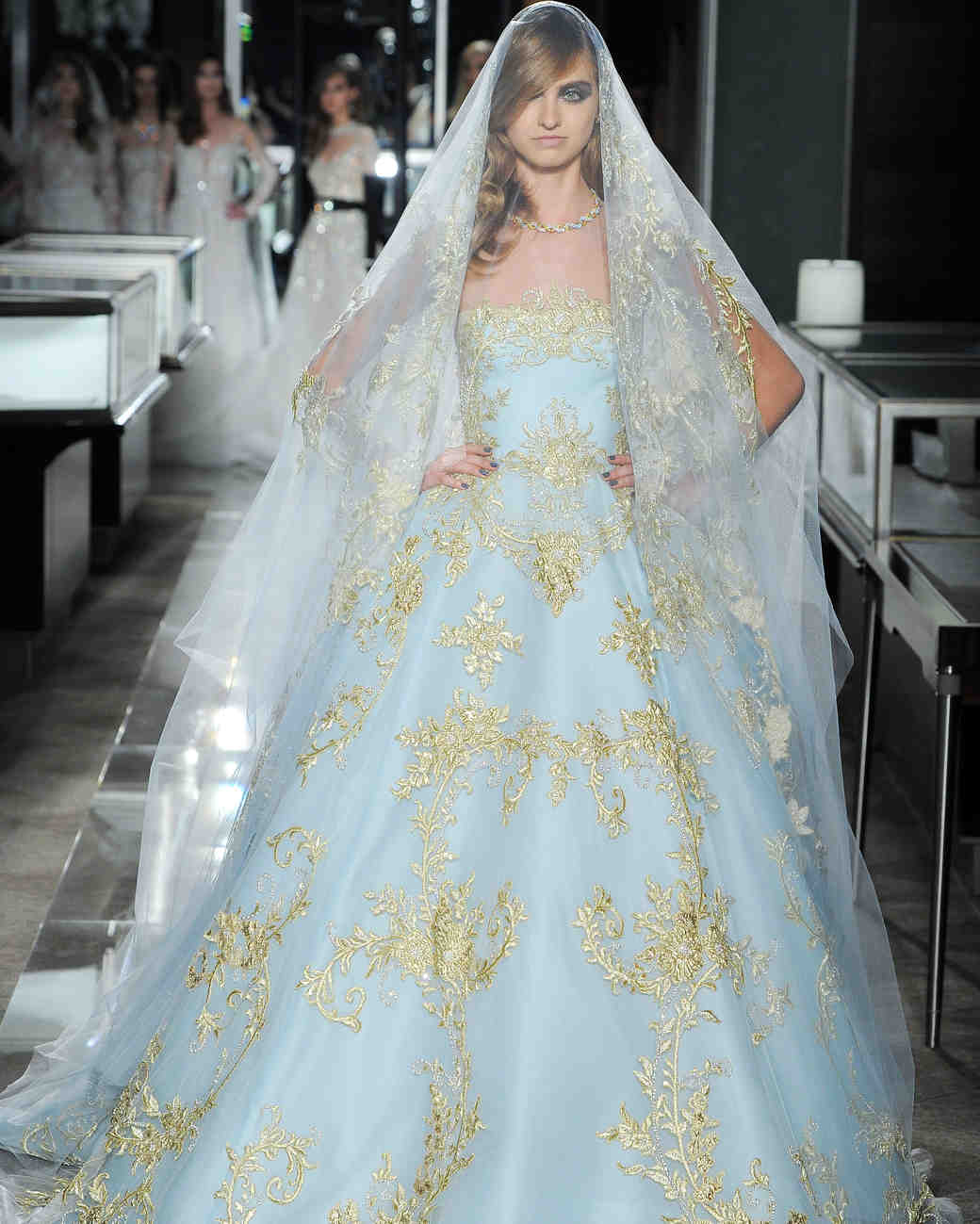 reem acra spring 2018 wedding dress collection blue ball gown