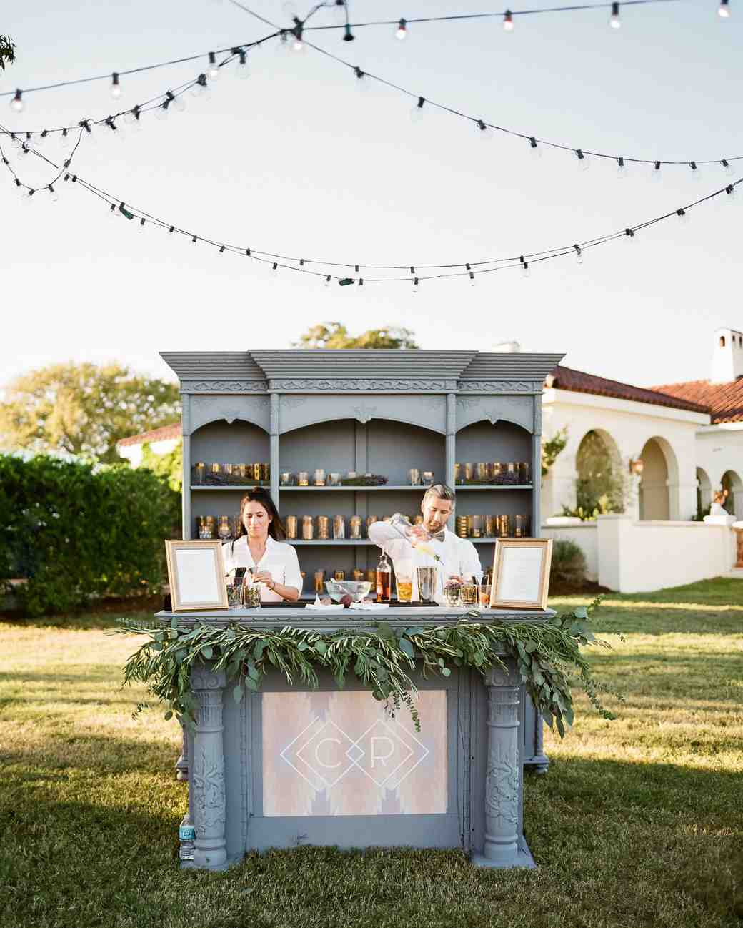 Chic Monogrammed Wedding Bar