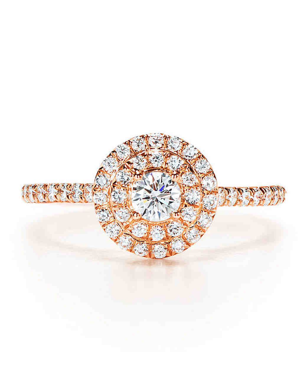 Tiffany & Co Rose Gold Engagement Ring with Diamond Halo and Shank