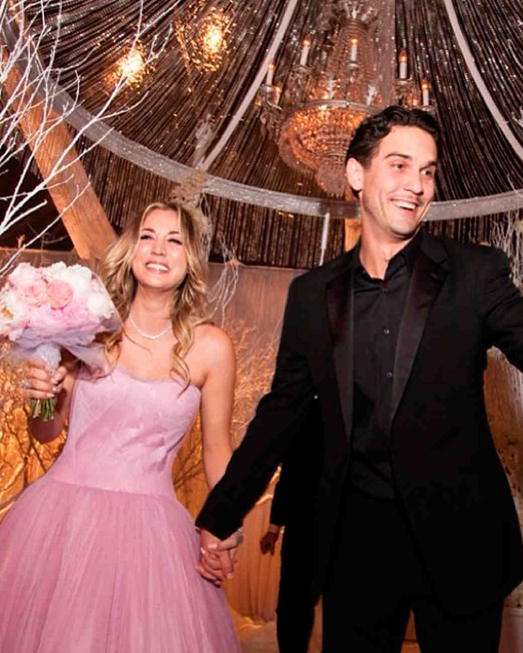 celebrity brides who wore pink wedding dresses fuchsia wedding dress Celebrity Brides Who Wore Pink Wedding Dresses Martha Stewart Weddings
