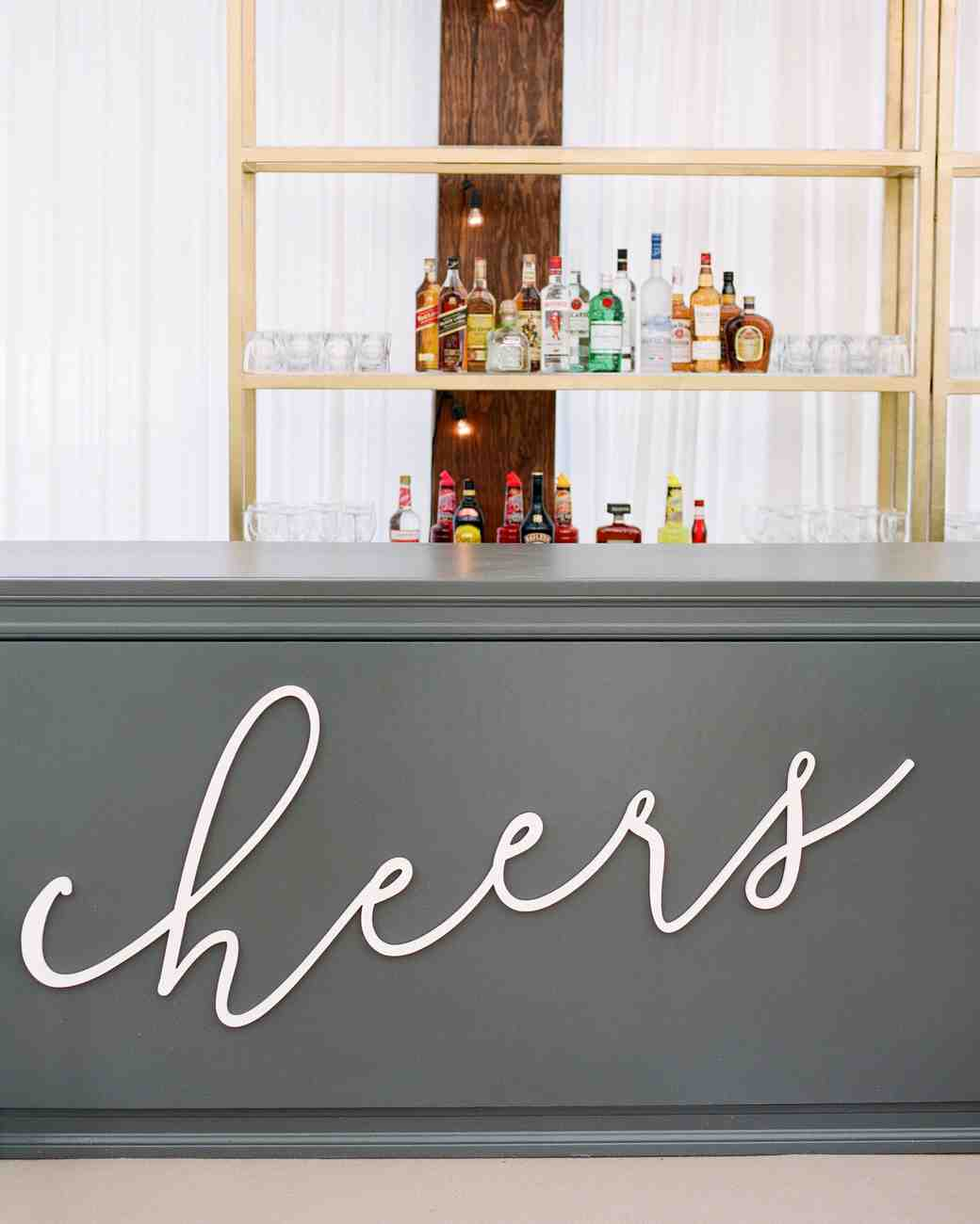 "Wedding Bar with ""Cheers"" Sign"