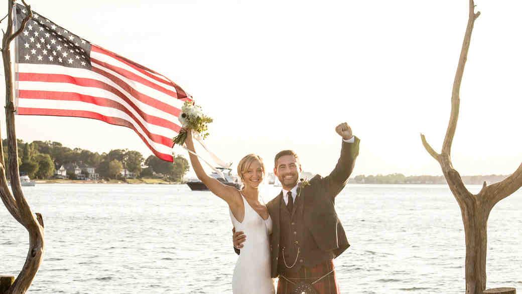 wedding couple dock waving