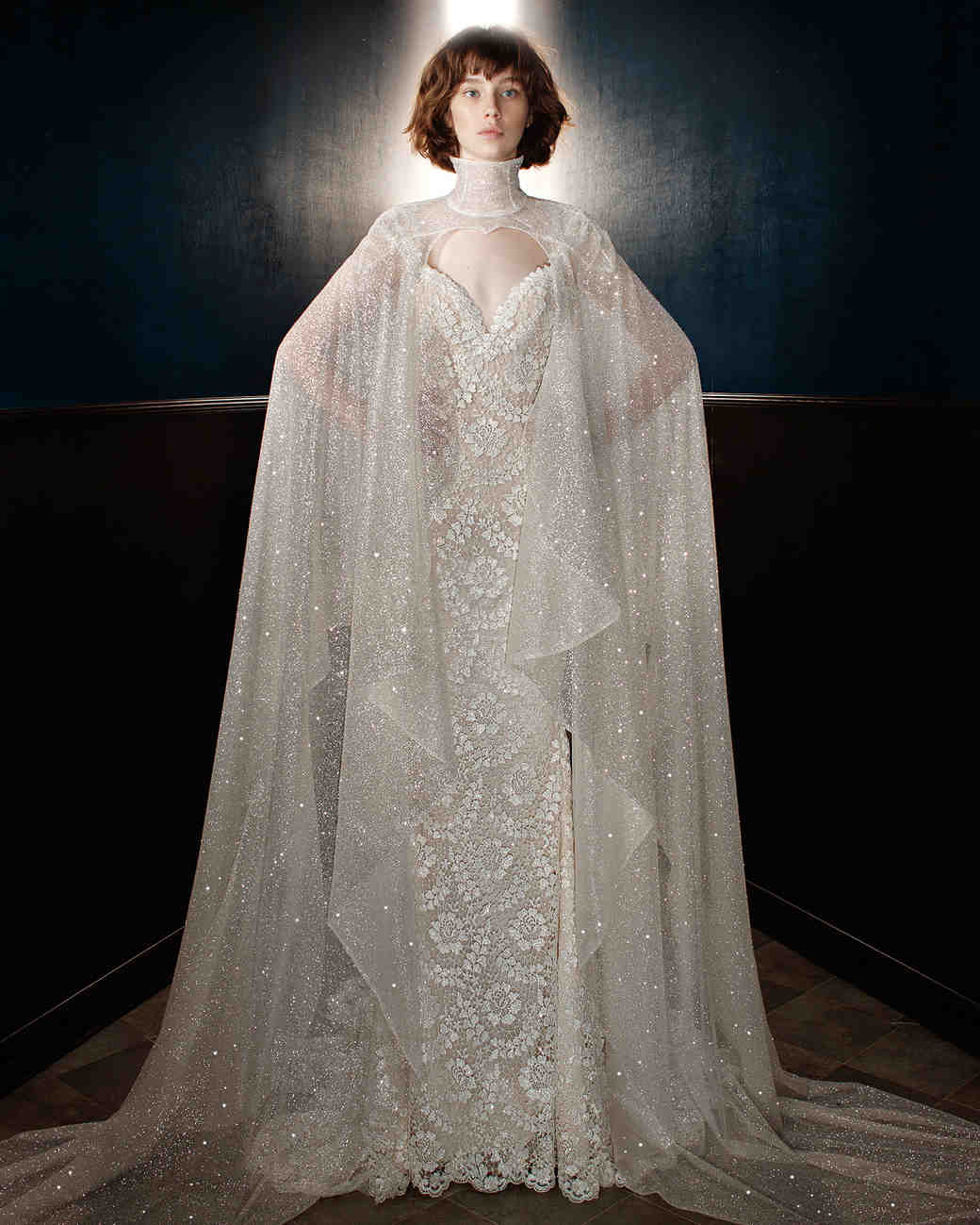 galia lahav wedding dress spring 2018 v-neck cape shimmer