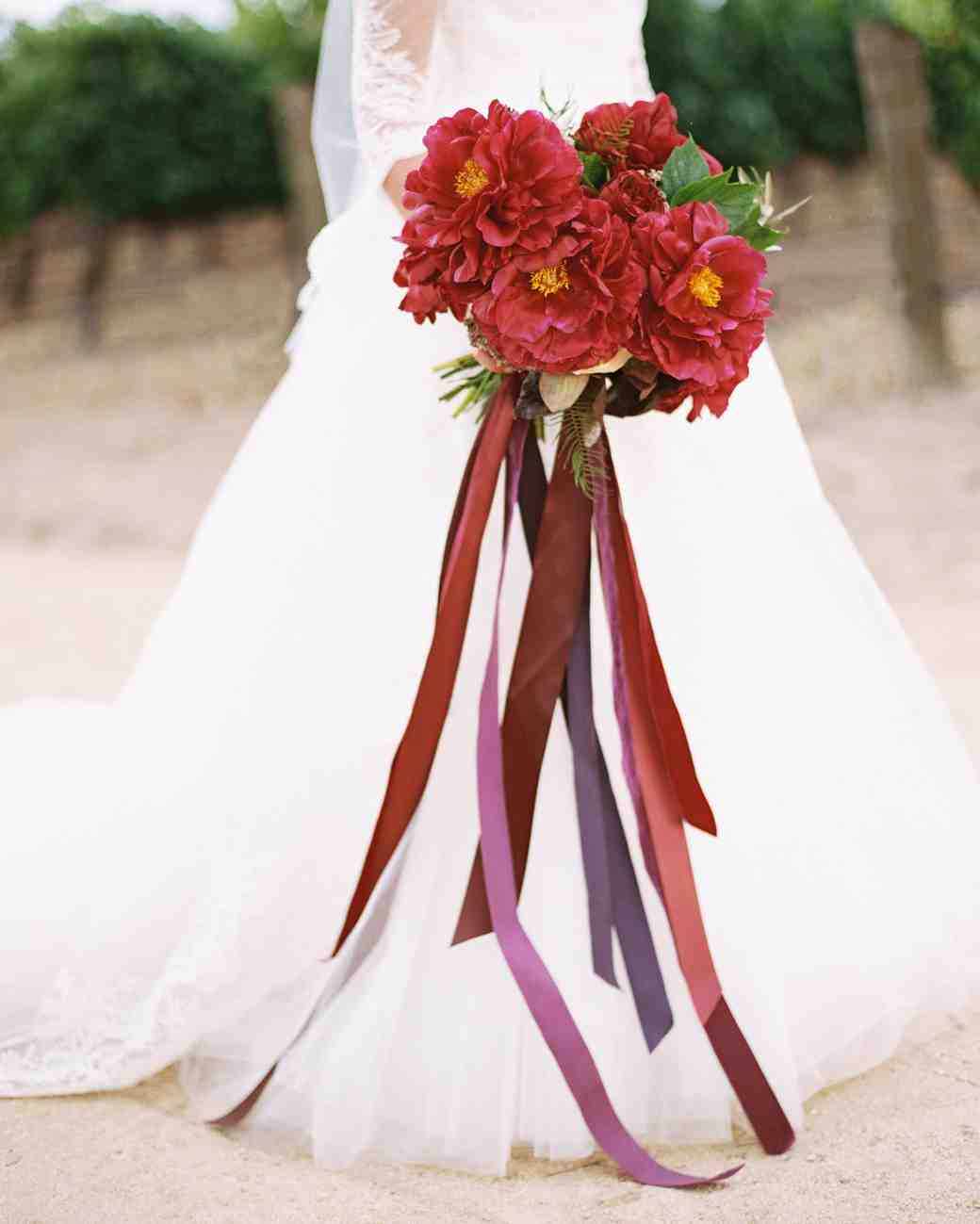 Red Wedding Bouquet with Ribbons