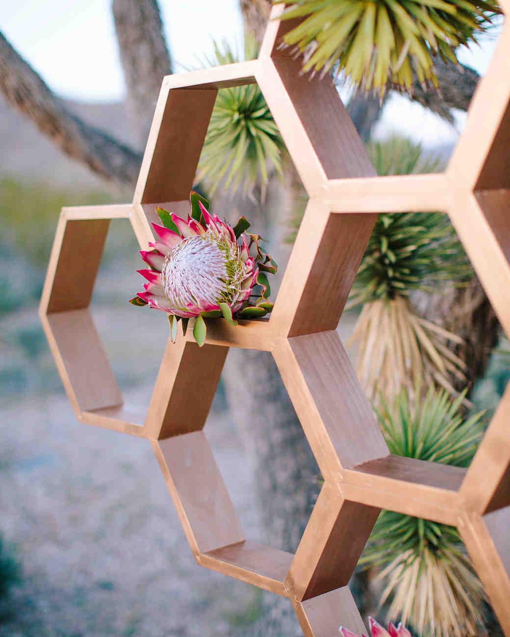 Honeycomb Wedding Inspiration, Ceremony Backdrop with Protea