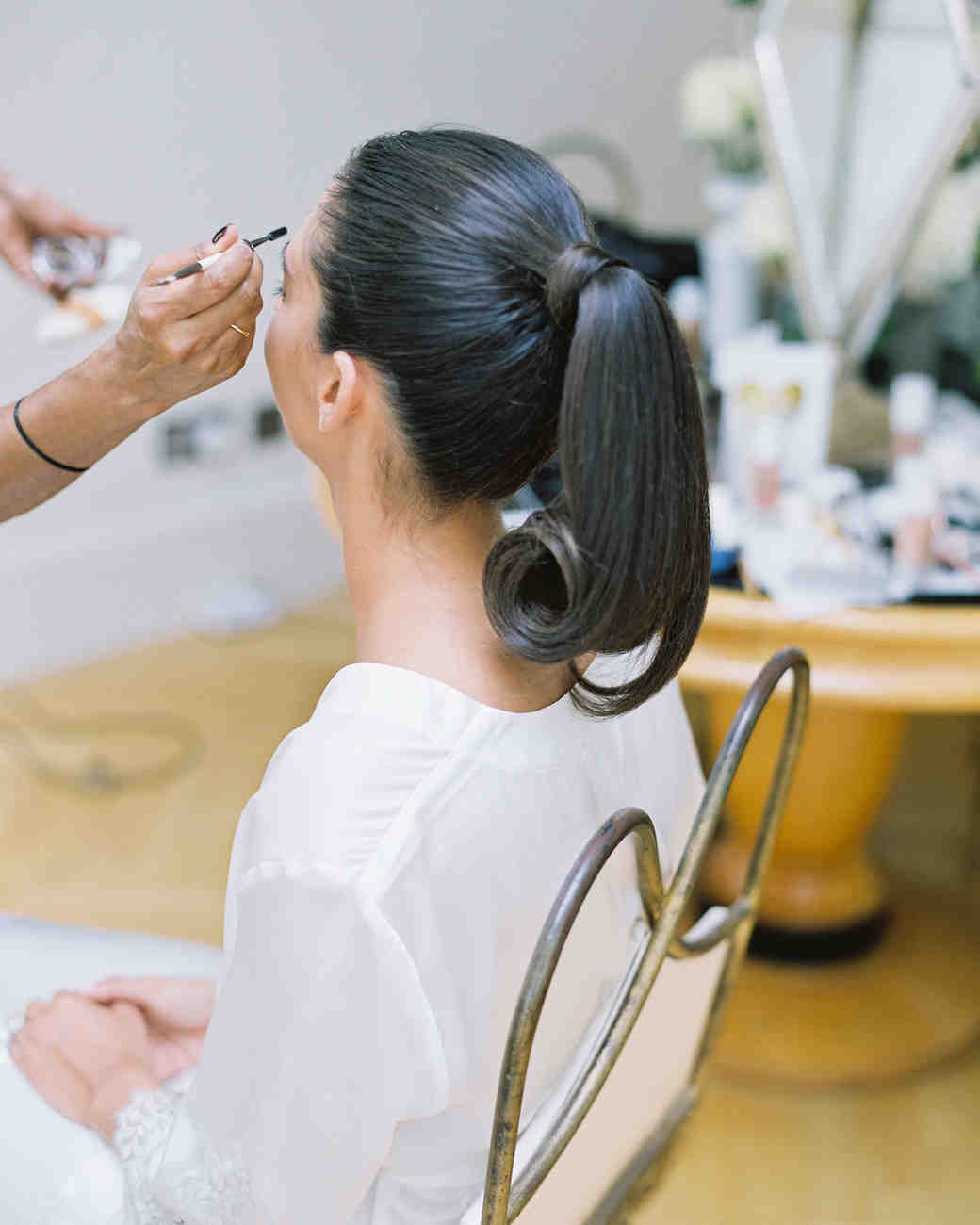 Wedding Hairstyle Ponytail: A Classic Wedding In London With An All-White Color