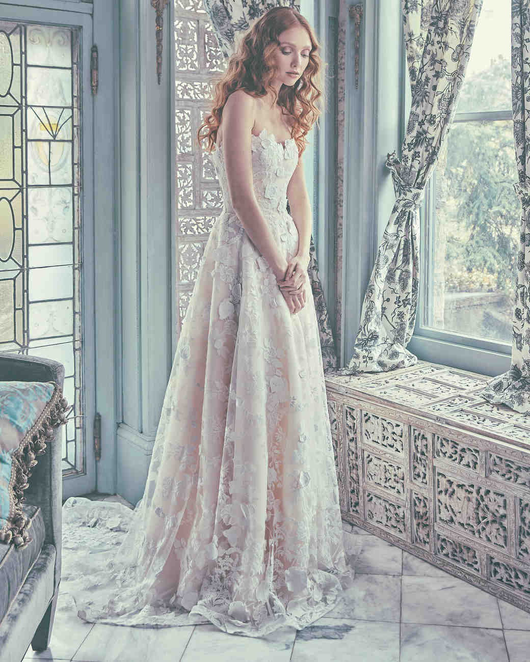Sareh Nouri A-Line Wedding Dress with Lace Spring 2018
