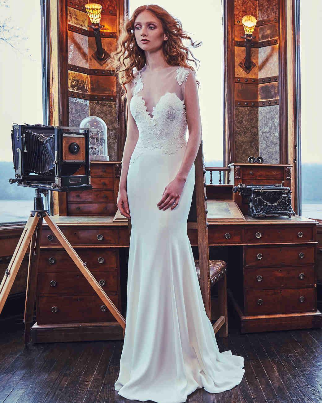 Sareh Nouri Mermaid Wedding Dress with Illusion Neckline Spring 2018
