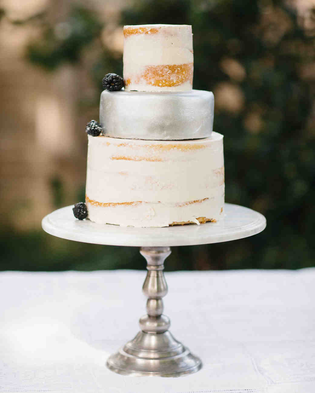 Wedding Cake with Silver Middle Tier