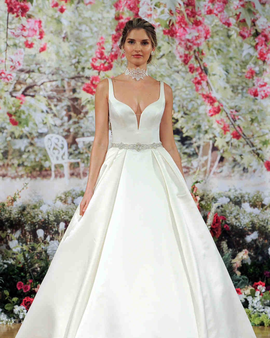 Sottero and Midgley Fall 2017 Deep-Neckline Wedding Dress with Choker