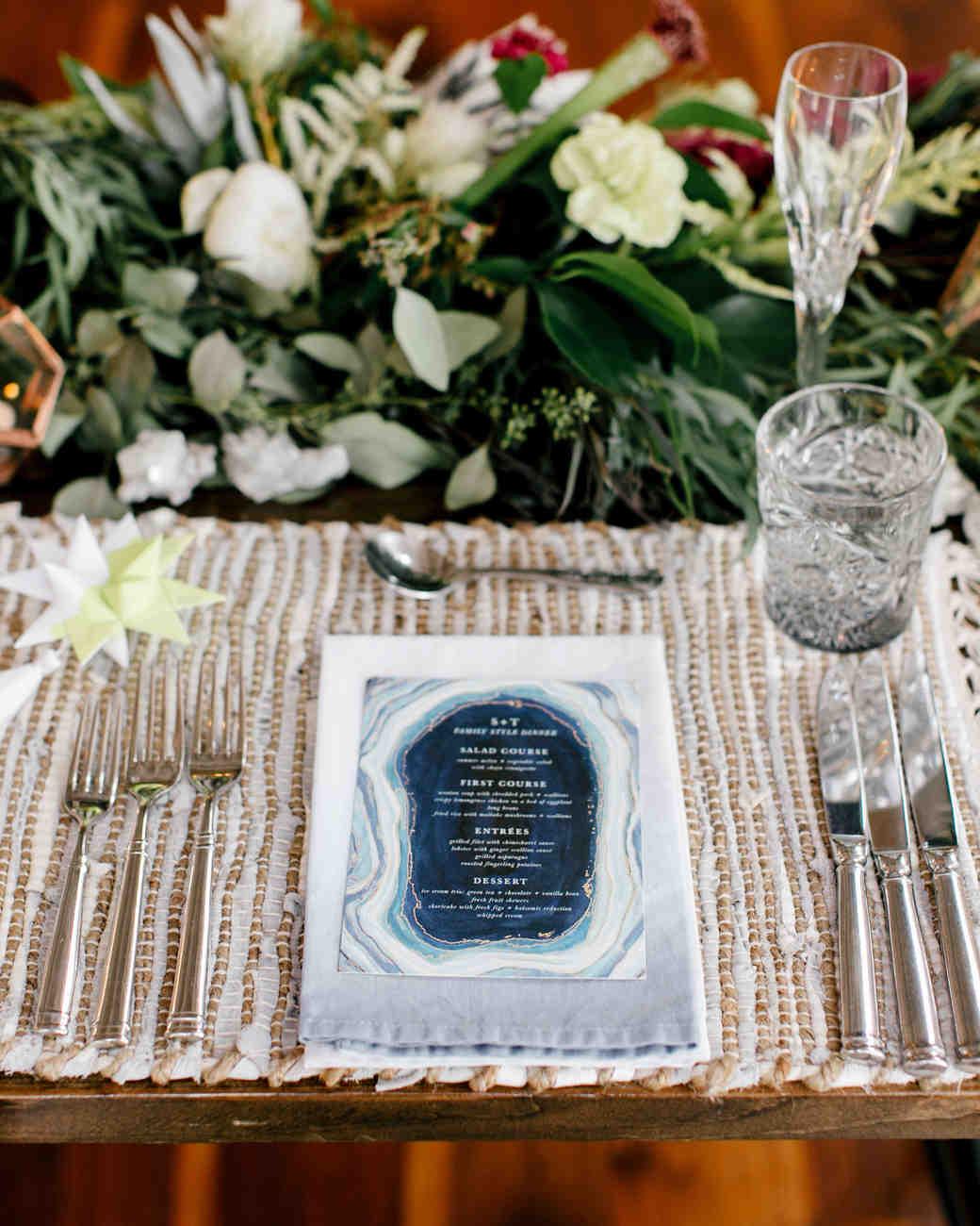 Geode Wedding Menu