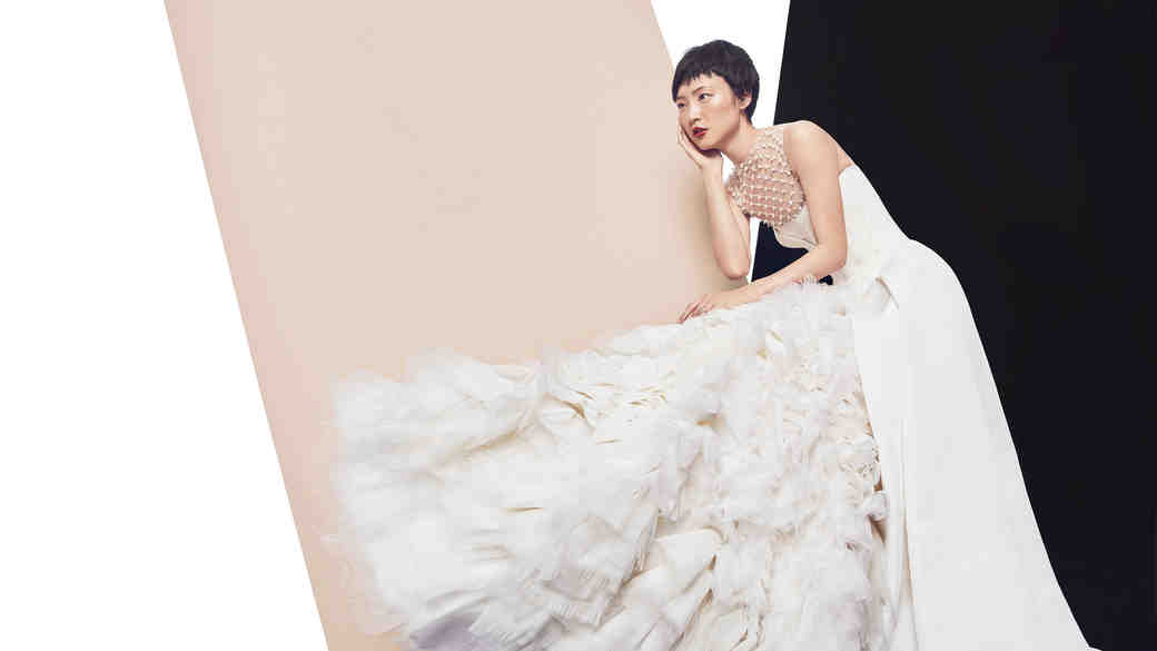 vera wang evelina beaded feather gown