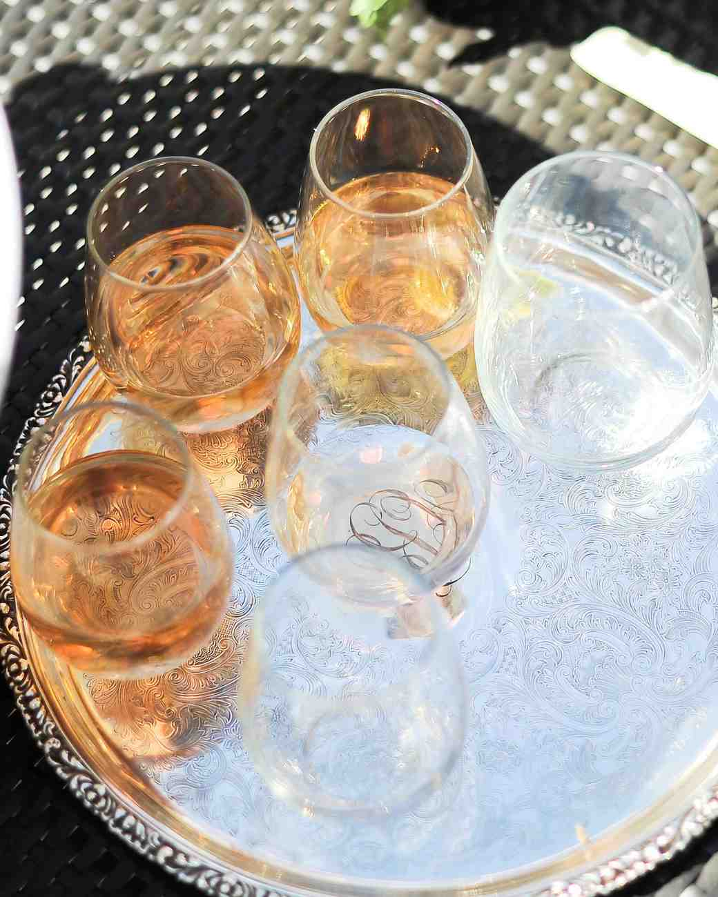 Miraval Rose on Silver Platter at Annie Atkinson's Bridal Shower