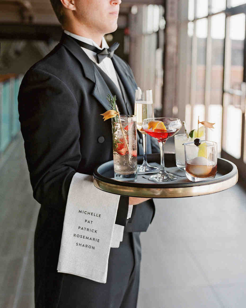 waiter cocktail tray wedding