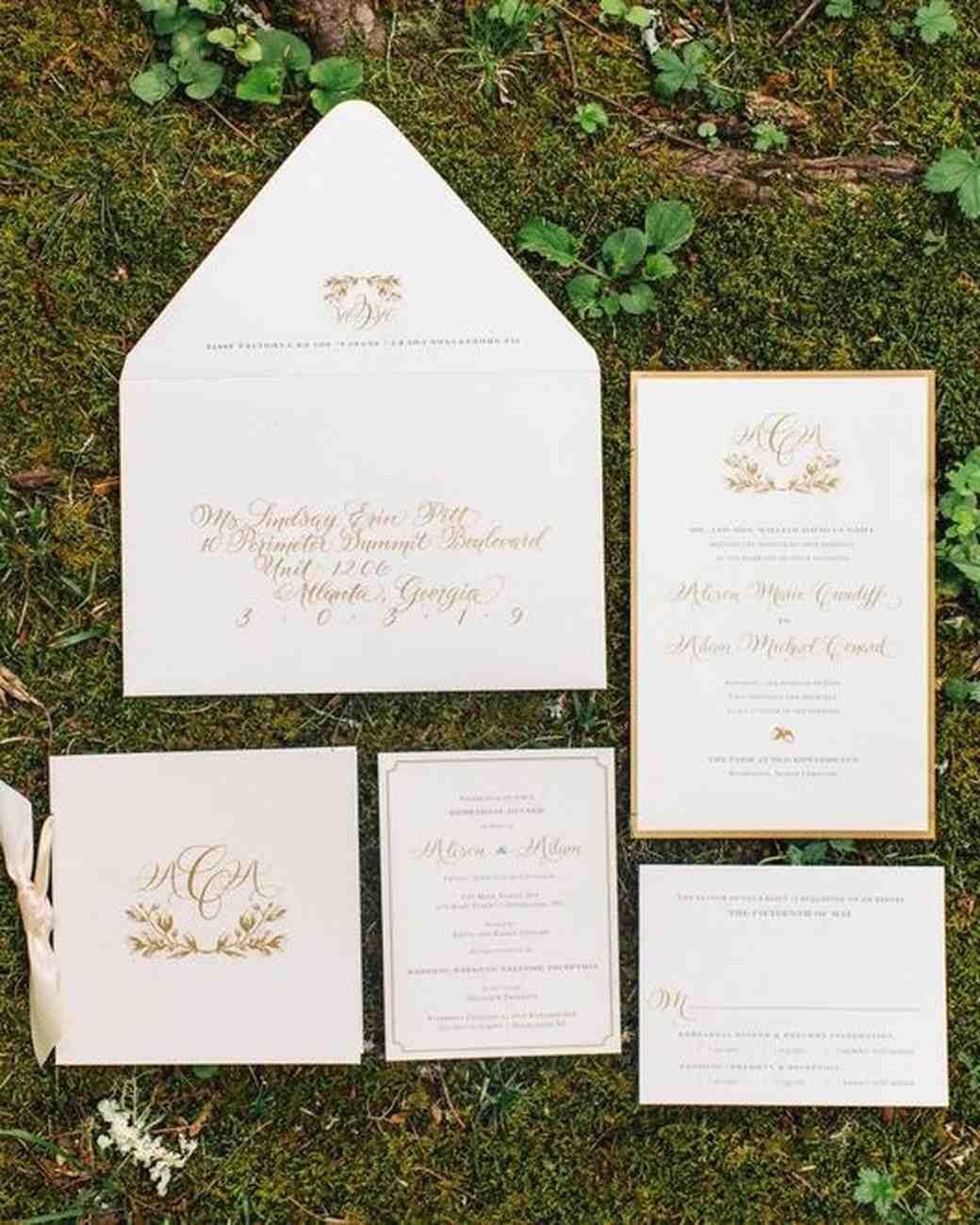 White And Gold Wedding Invitation