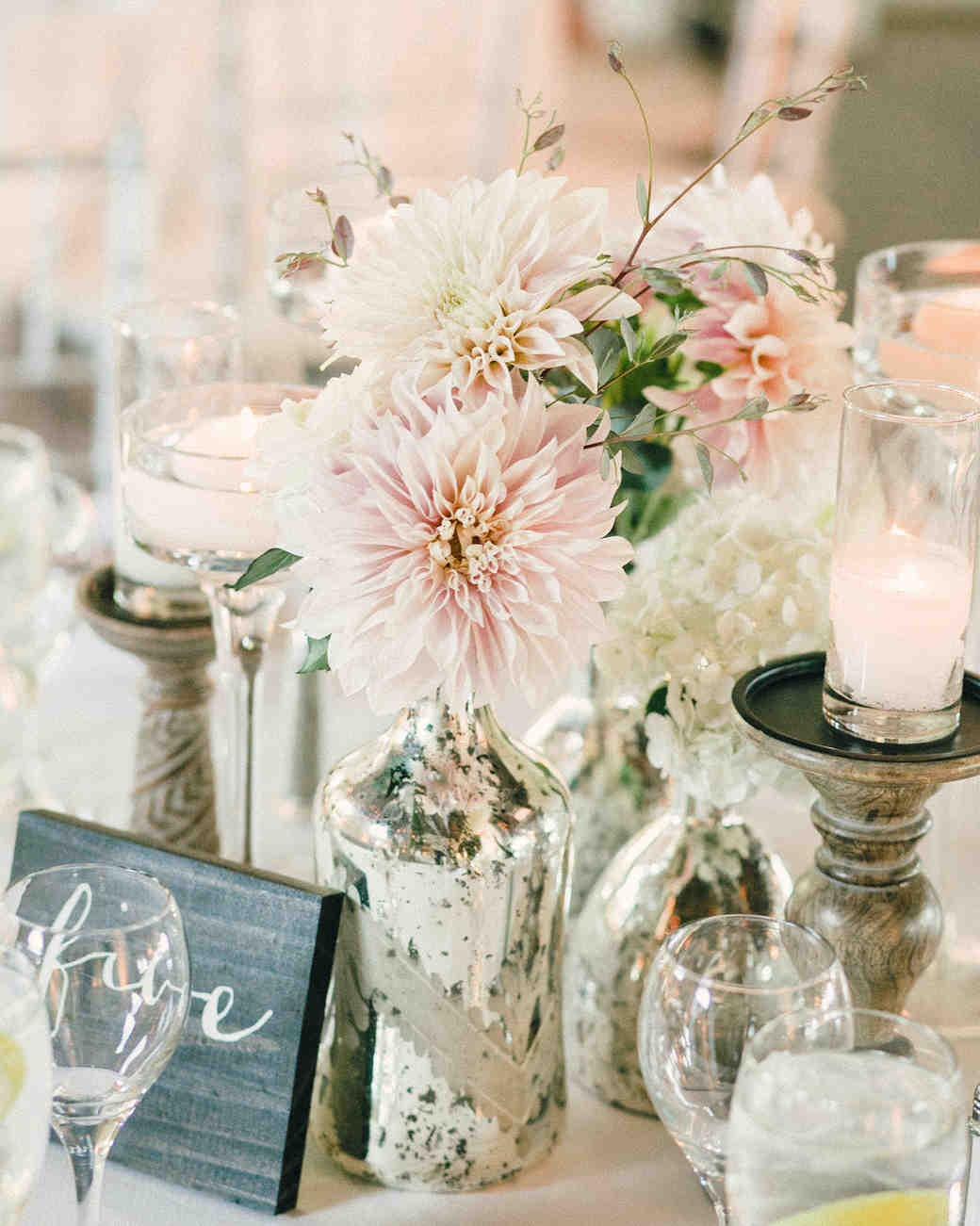 Cluster Centerpiece of Mercury Glass Vases with Dahlias
