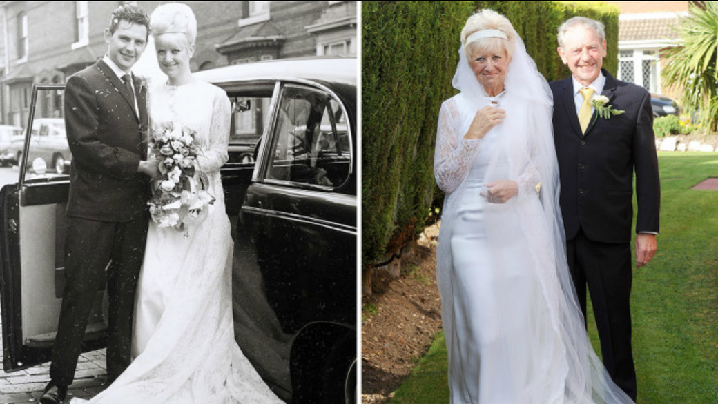 Couple wears their wedding outfits for their 50th anniversary