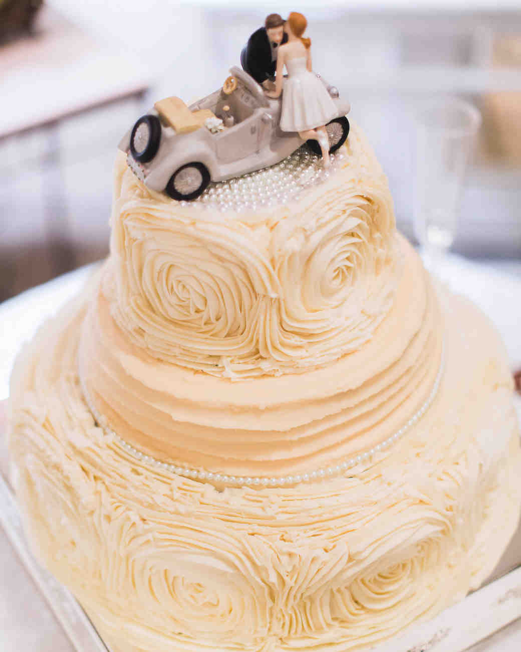 Wedding Cake with Rose Frosting Designs