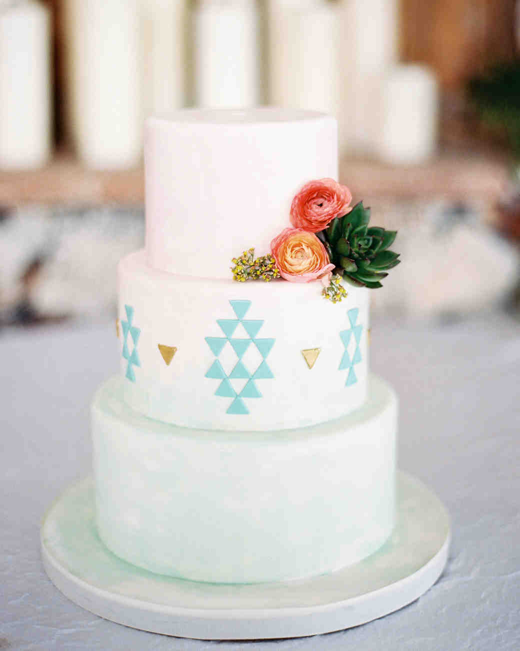 White Wedding Cake with Triangle Details