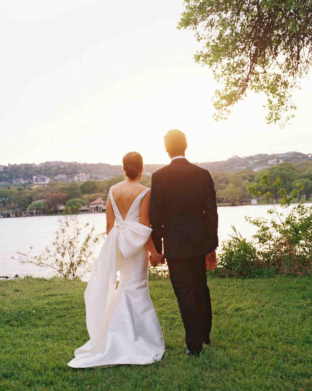 wedding couple sunset
