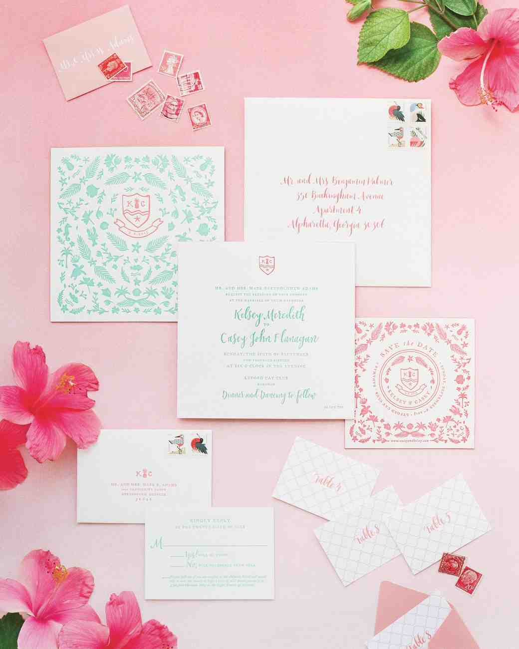 beachy wedding invitations