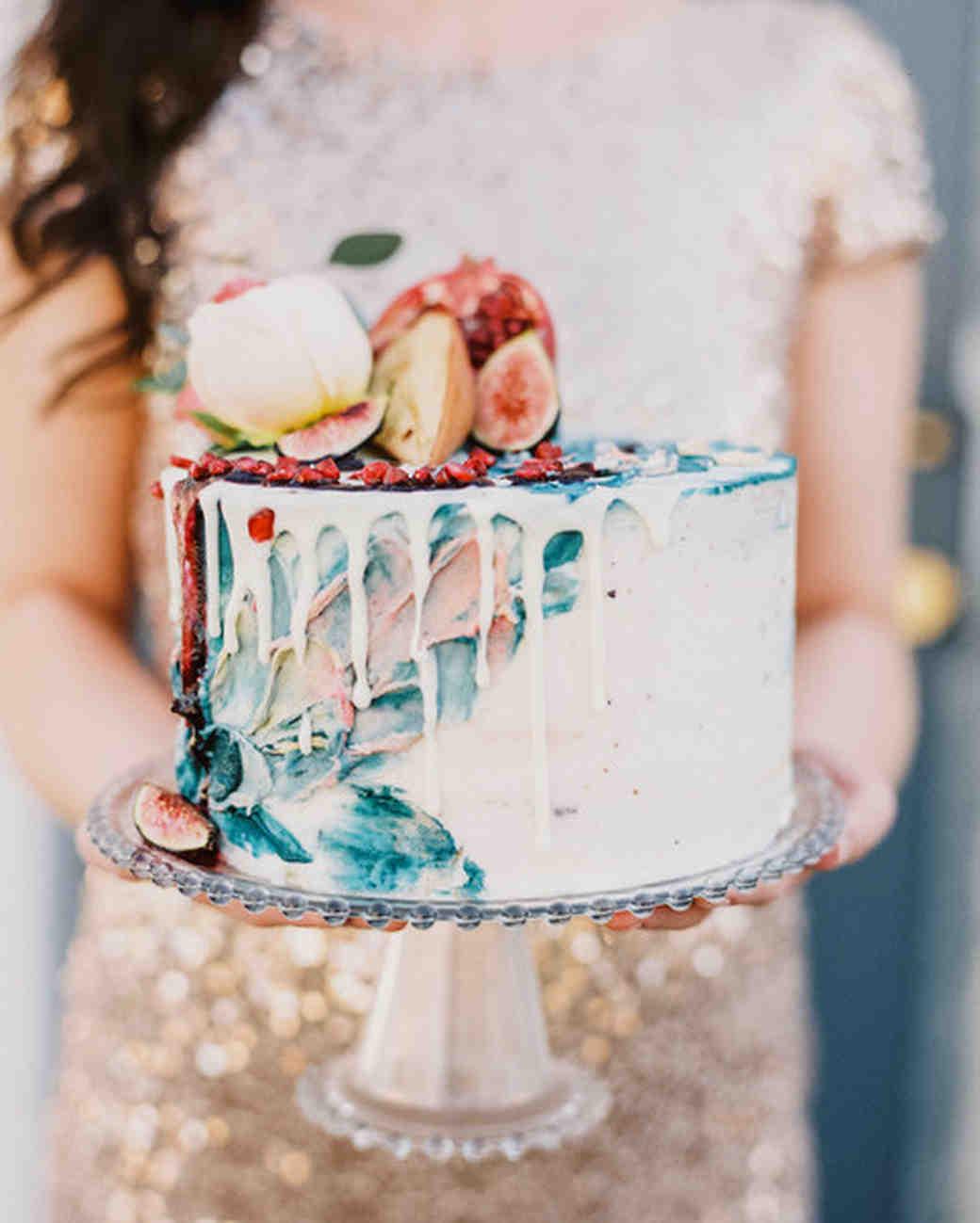 Painted Wedding Cake with Fruit