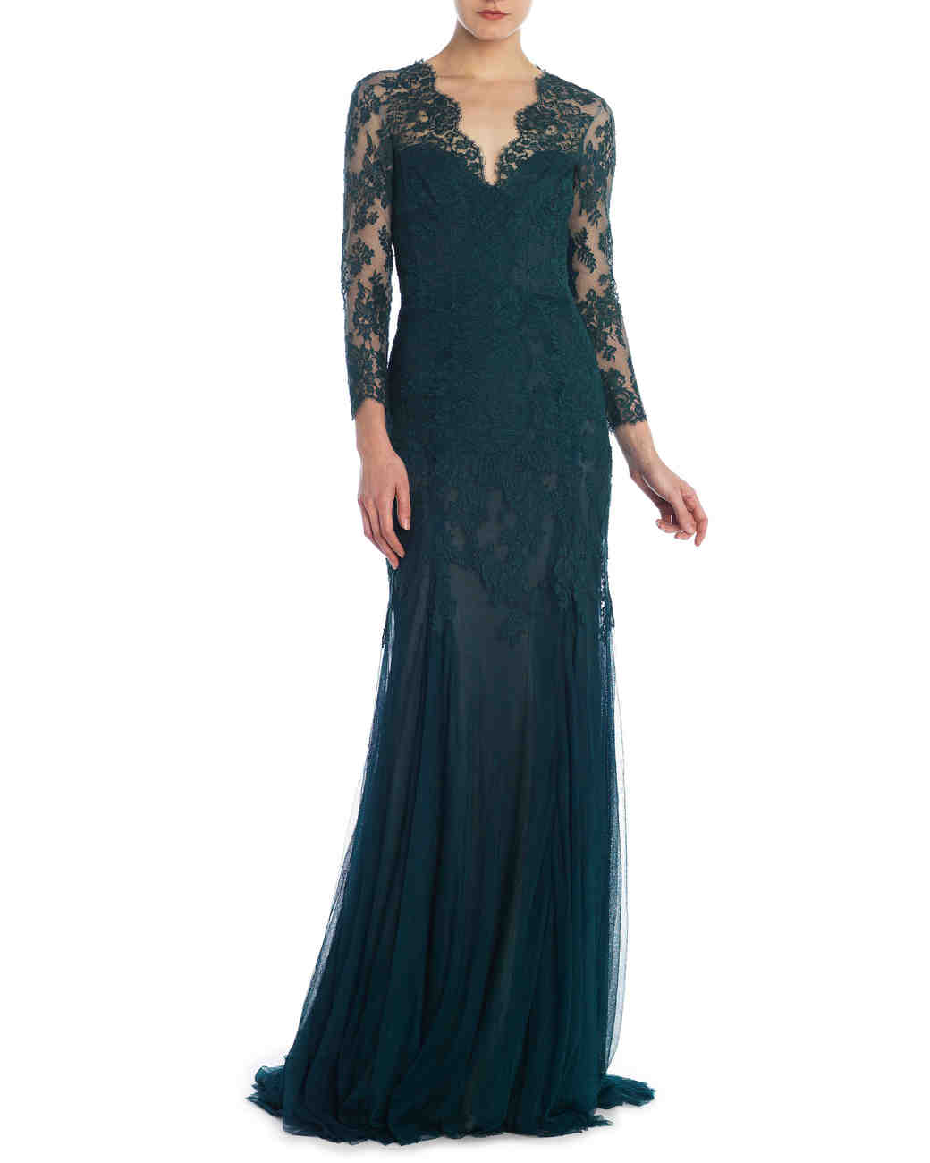 Green Long-Sleeved Lace Gown