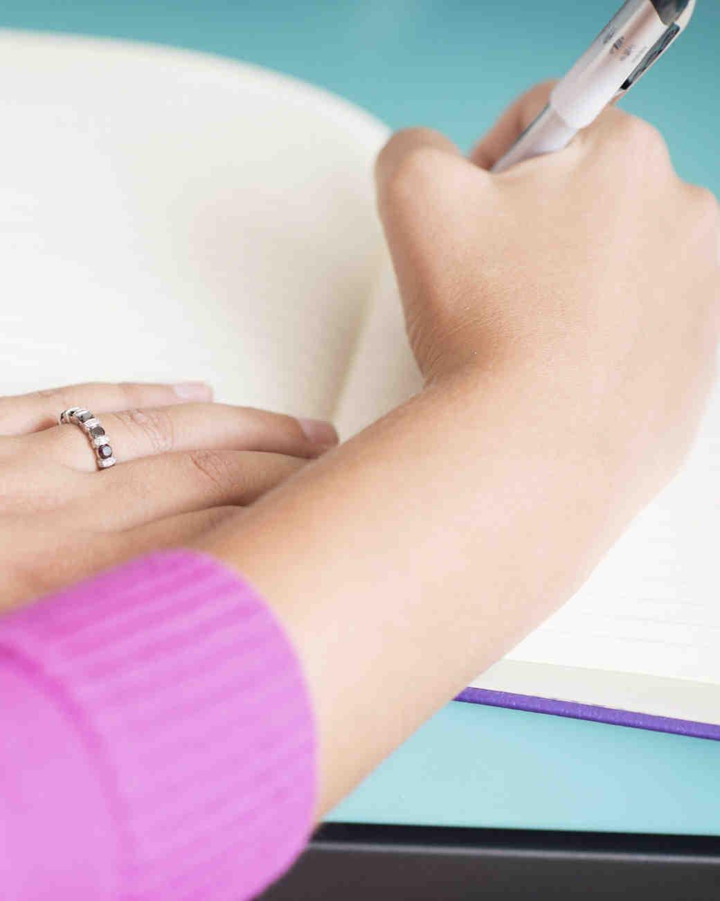 writting in book