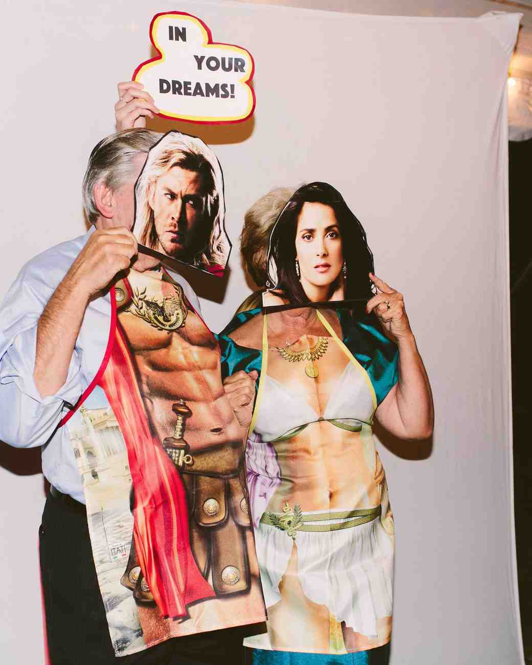 Wedding Guests with Silly Photo Booth Props