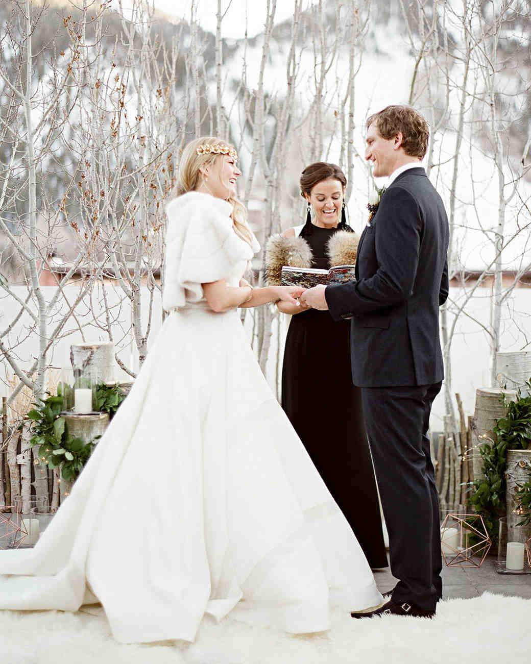wedding couple ceremony snow
